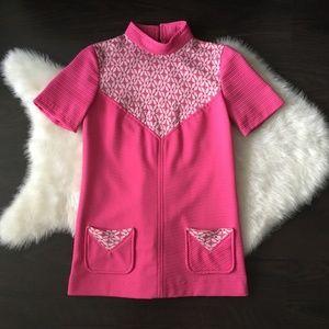 Tops - VTG 70s Hot Pink Mini Dress Pocket Tunic